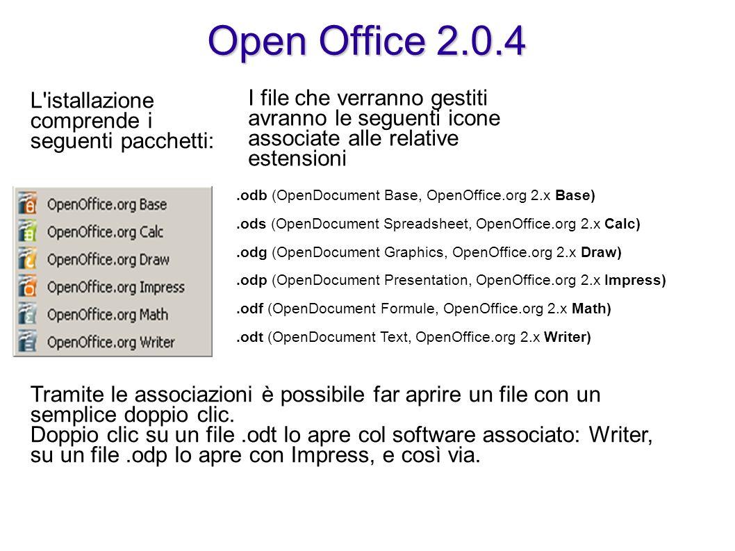 Open Office 2.0.4 L istallazione comprende i seguenti pacchetti: