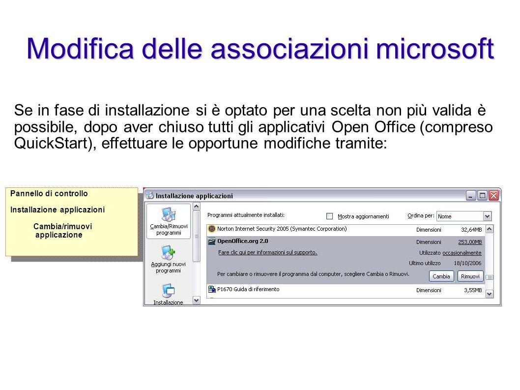 Modifica delle associazioni microsoft