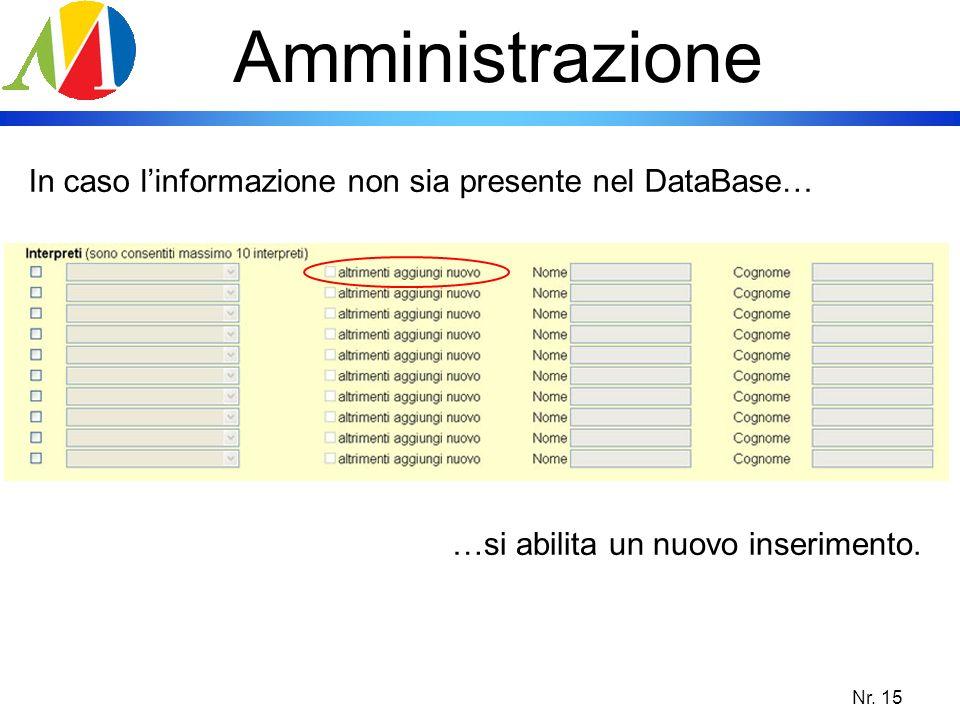 Amministrazione In caso l'informazione non sia presente nel DataBase…