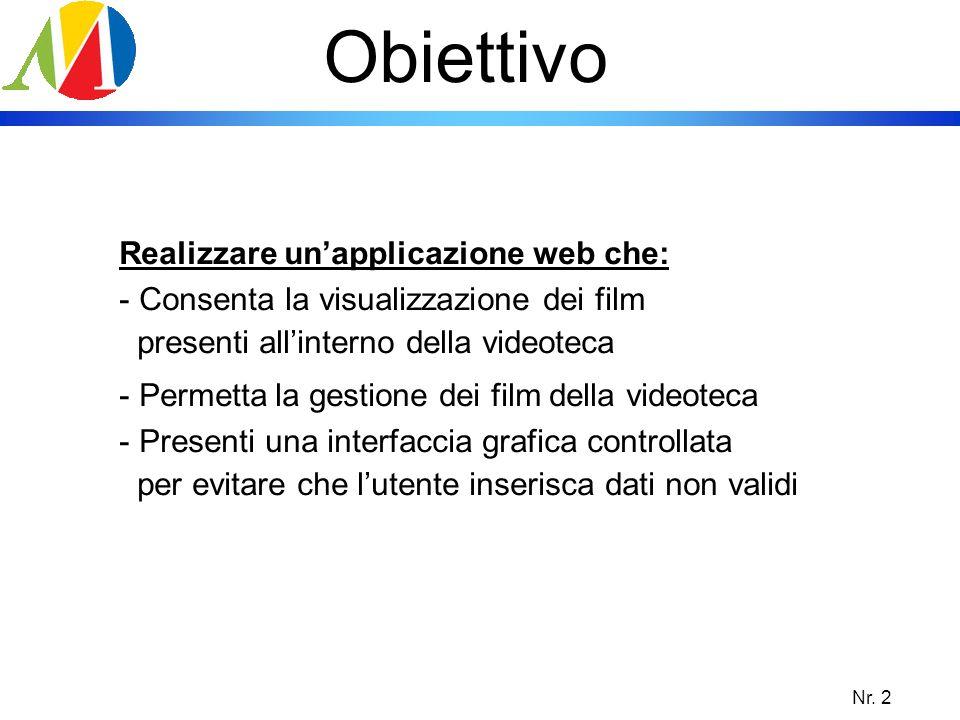 Obiettivo Realizzare un'applicazione web che: