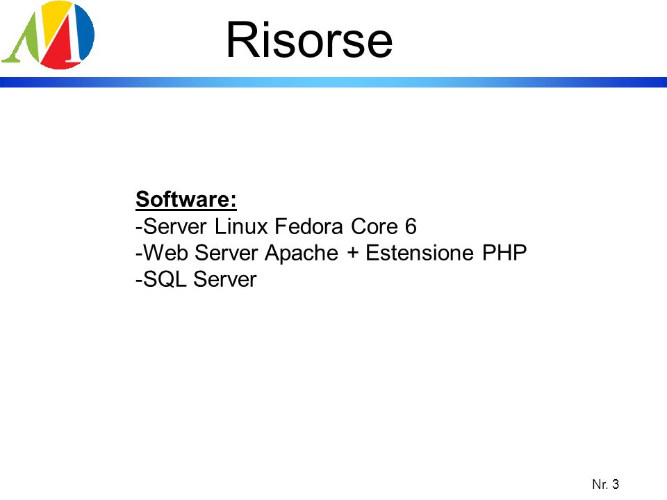 Risorse Software: Server Linux Fedora Core 6