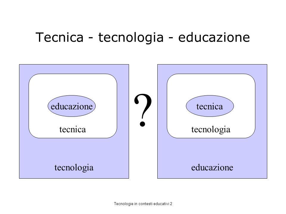 Tecnica - tecnologia - educazione