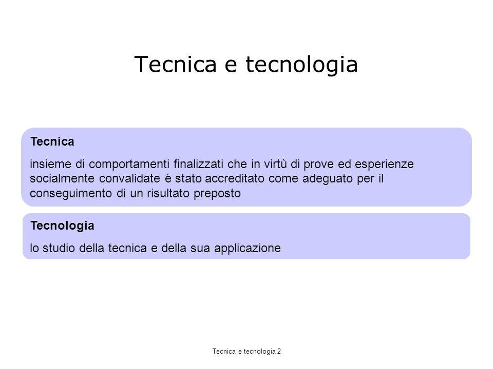 Tecnica e tecnologia Tecnica