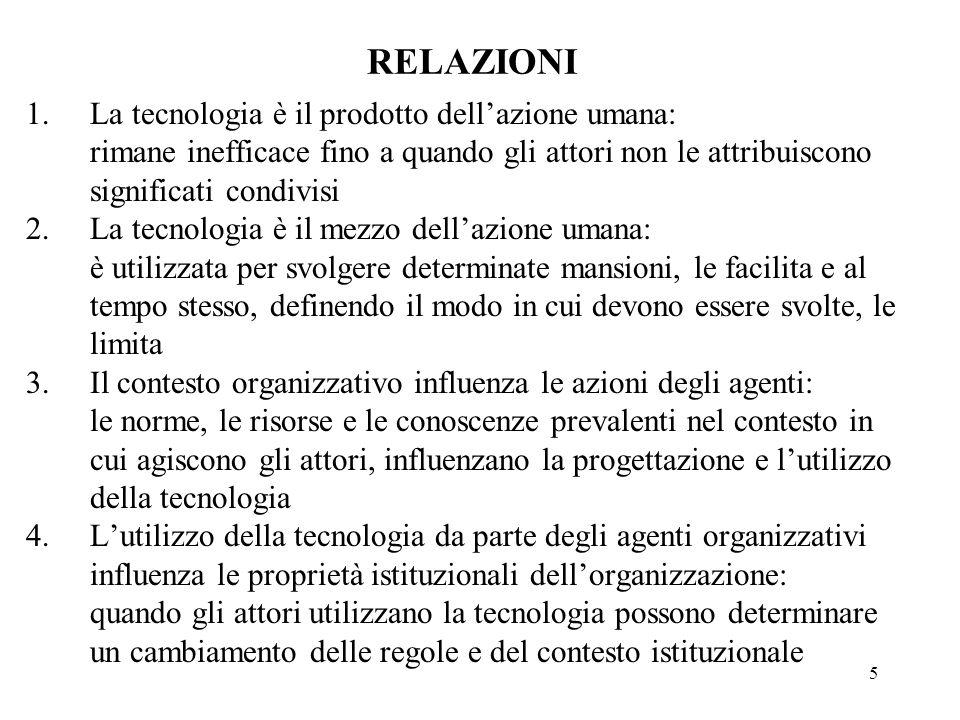 RELAZIONI La tecnologia è il prodotto dell'azione umana: