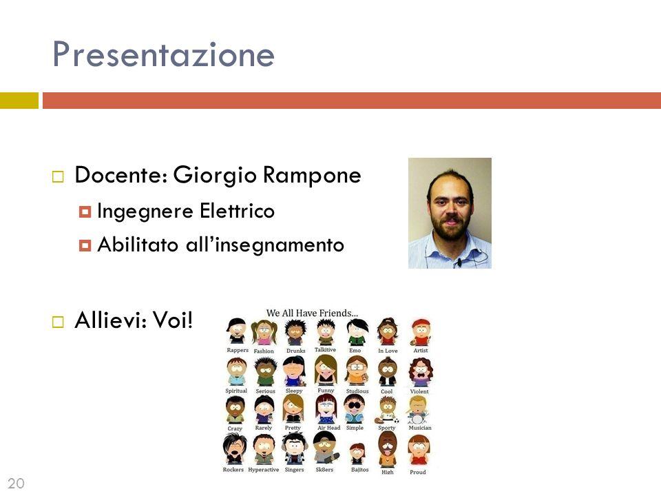 Presentazione Docente: Giorgio Rampone Allievi: Voi!