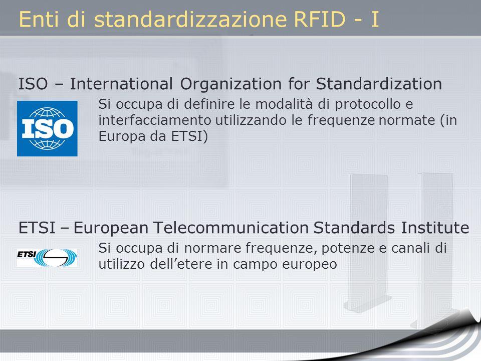 Enti di standardizzazione RFID - I