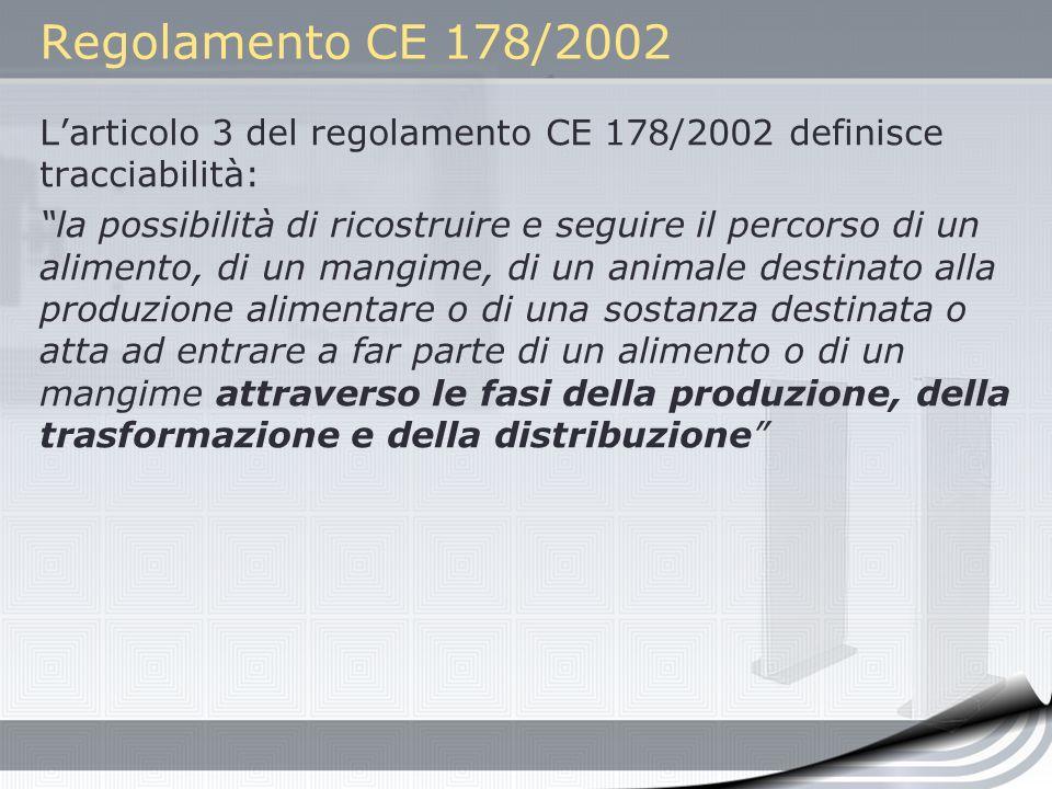 Regolamento CE 178/2002 L'articolo 3 del regolamento CE 178/2002 definisce tracciabilità: