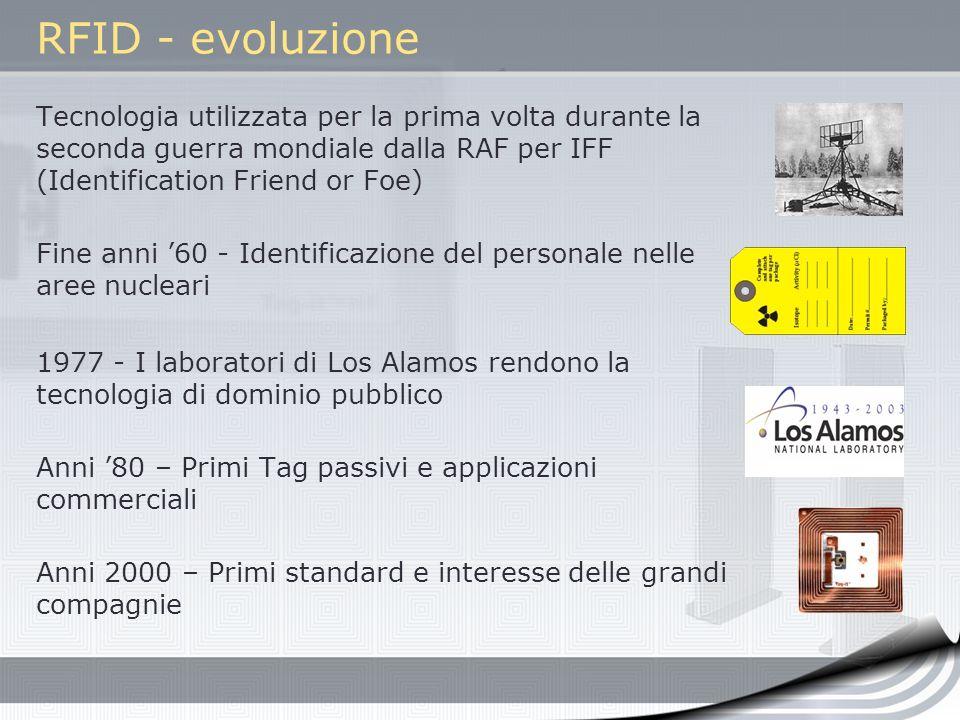 RFID - evoluzione Tecnologia utilizzata per la prima volta durante la seconda guerra mondiale dalla RAF per IFF (Identification Friend or Foe)
