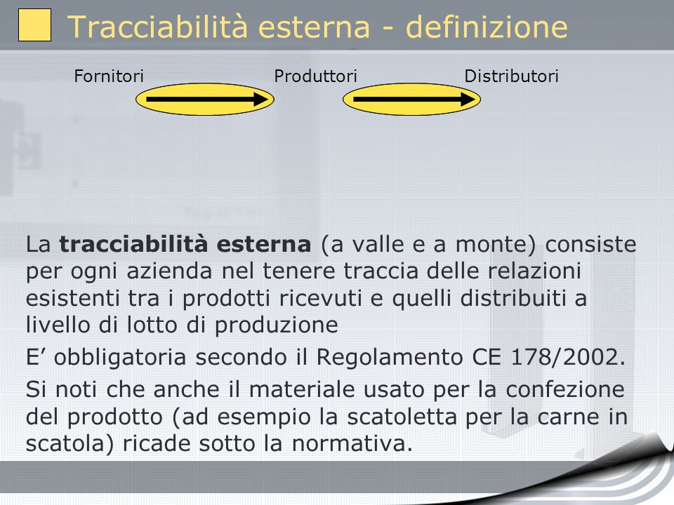 Tracciabilità esterna - definizione