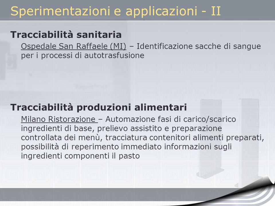 Sperimentazioni e applicazioni - II