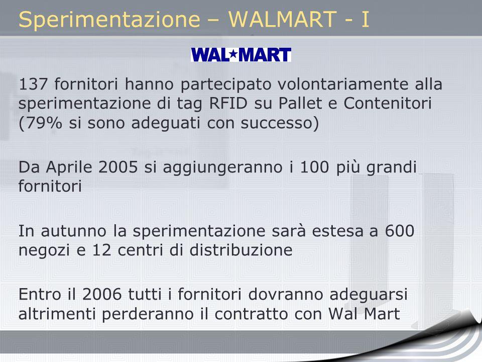 Sperimentazione – WALMART - I