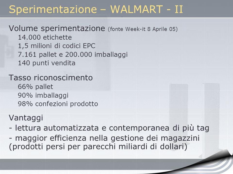 Sperimentazione – WALMART - II