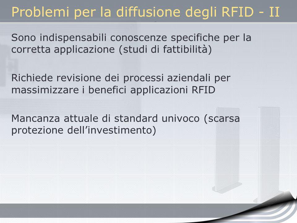 Problemi per la diffusione degli RFID - II