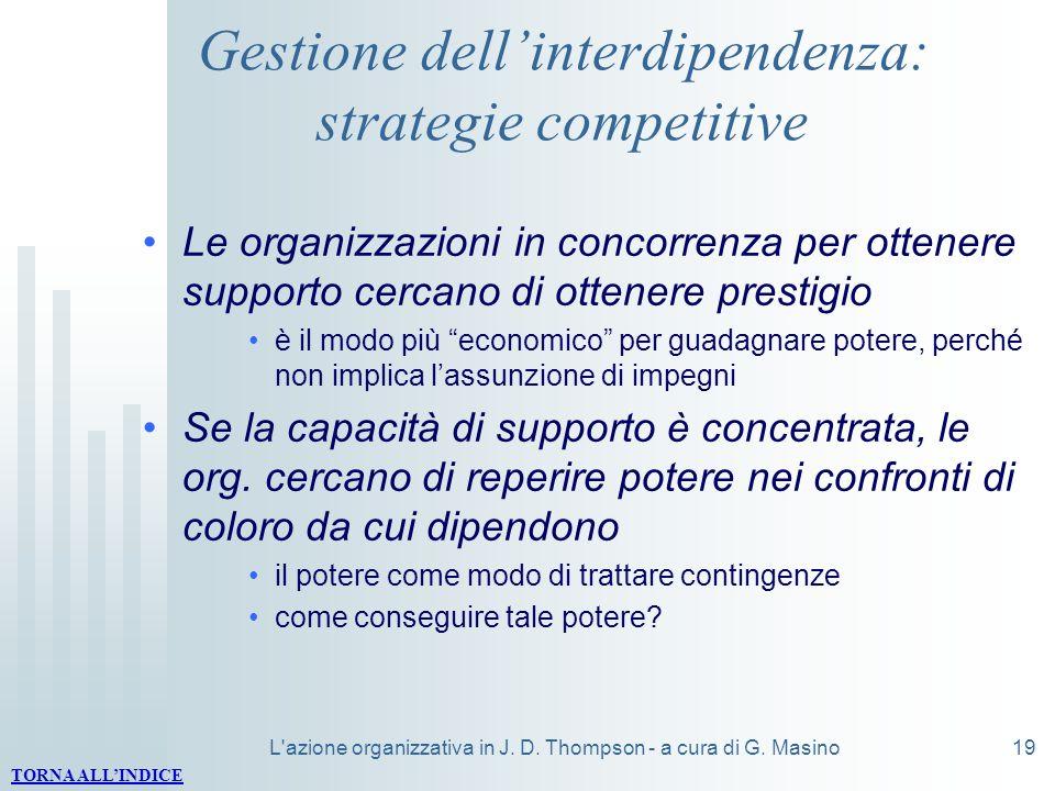 Gestione dell'interdipendenza: strategie competitive