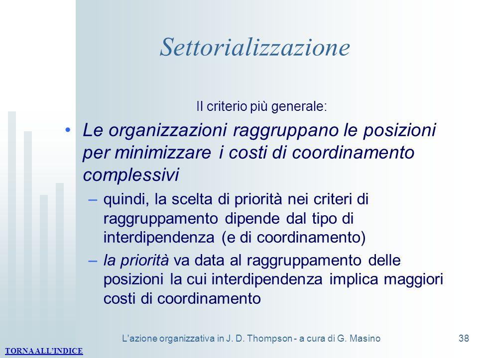 Settorializzazione Il criterio più generale: Le organizzazioni raggruppano le posizioni per minimizzare i costi di coordinamento complessivi.