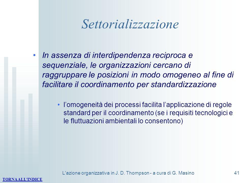 L azione organizzativa in J. D. Thompson - a cura di G. Masino