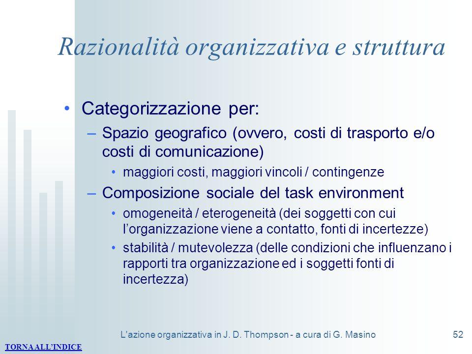 Razionalità organizzativa e struttura