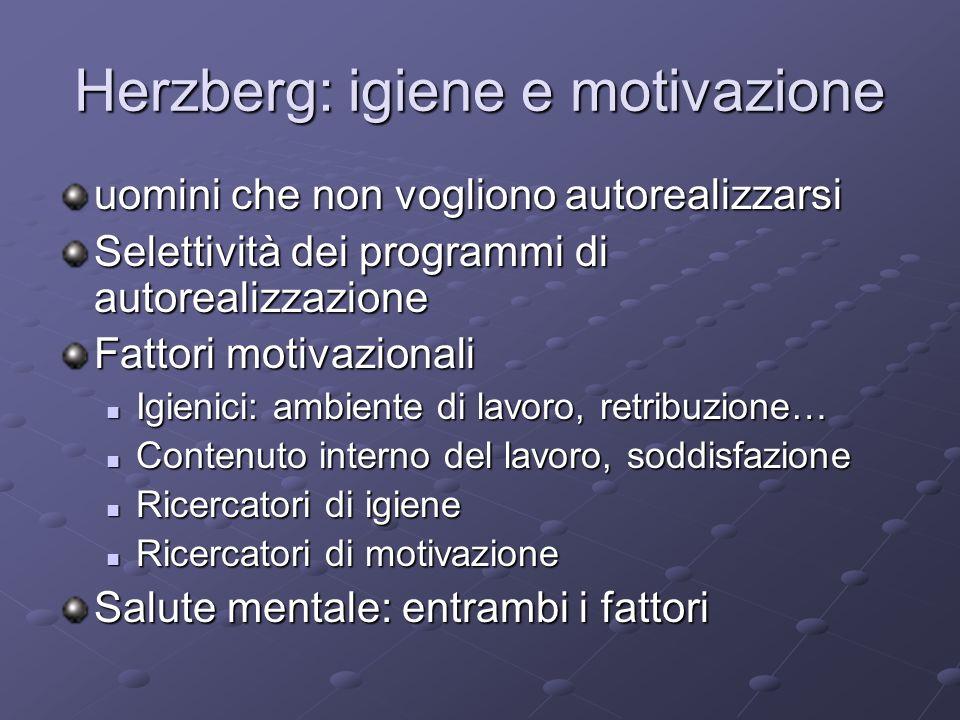 Herzberg: igiene e motivazione