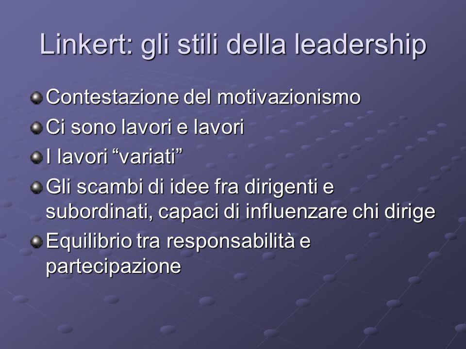 Linkert: gli stili della leadership