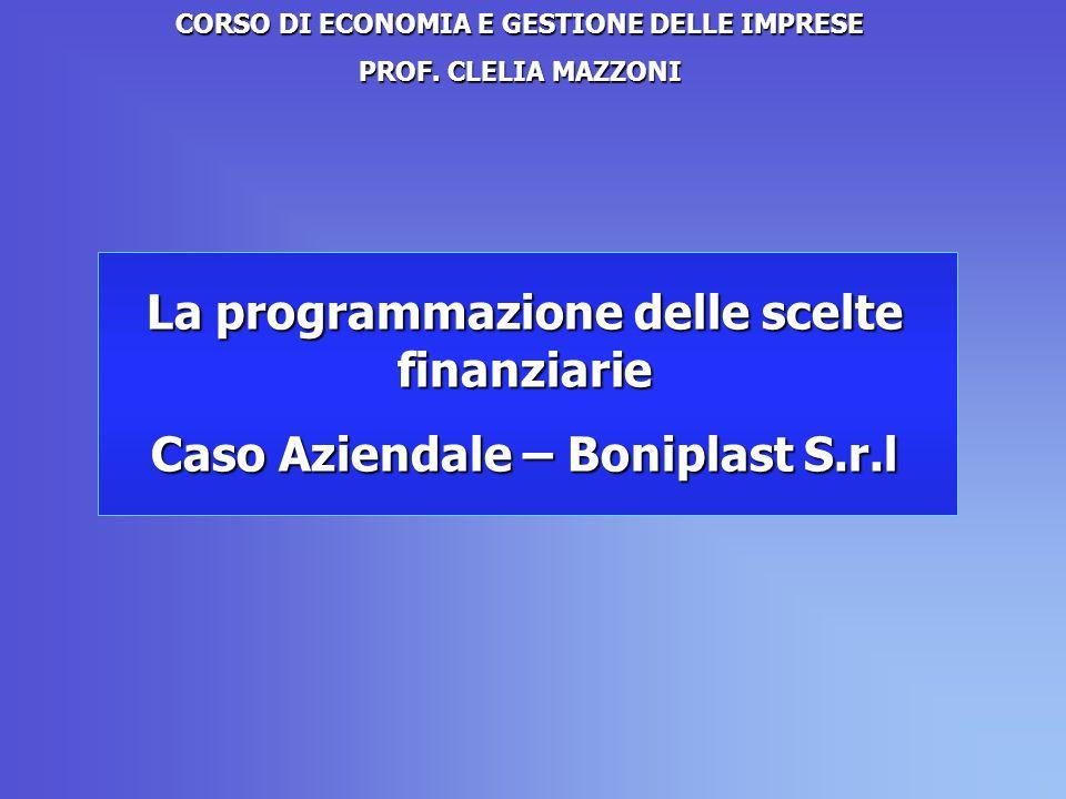 La programmazione delle scelte finanziarie