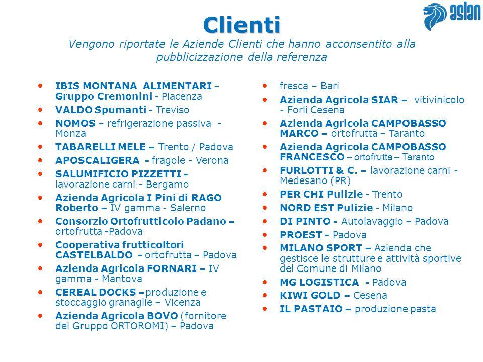 ClientiVengono riportate le Aziende Clienti che hanno acconsentito alla pubblicizzazione della referenza.