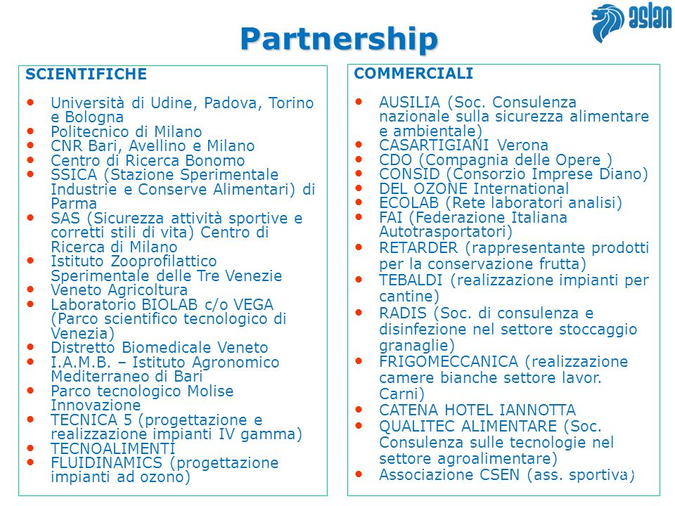 Partnership SCIENTIFICHE COMMERCIALI