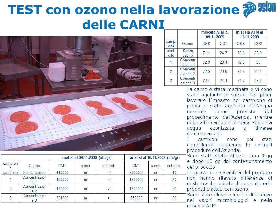 TEST con ozono nella lavorazione delle CARNI