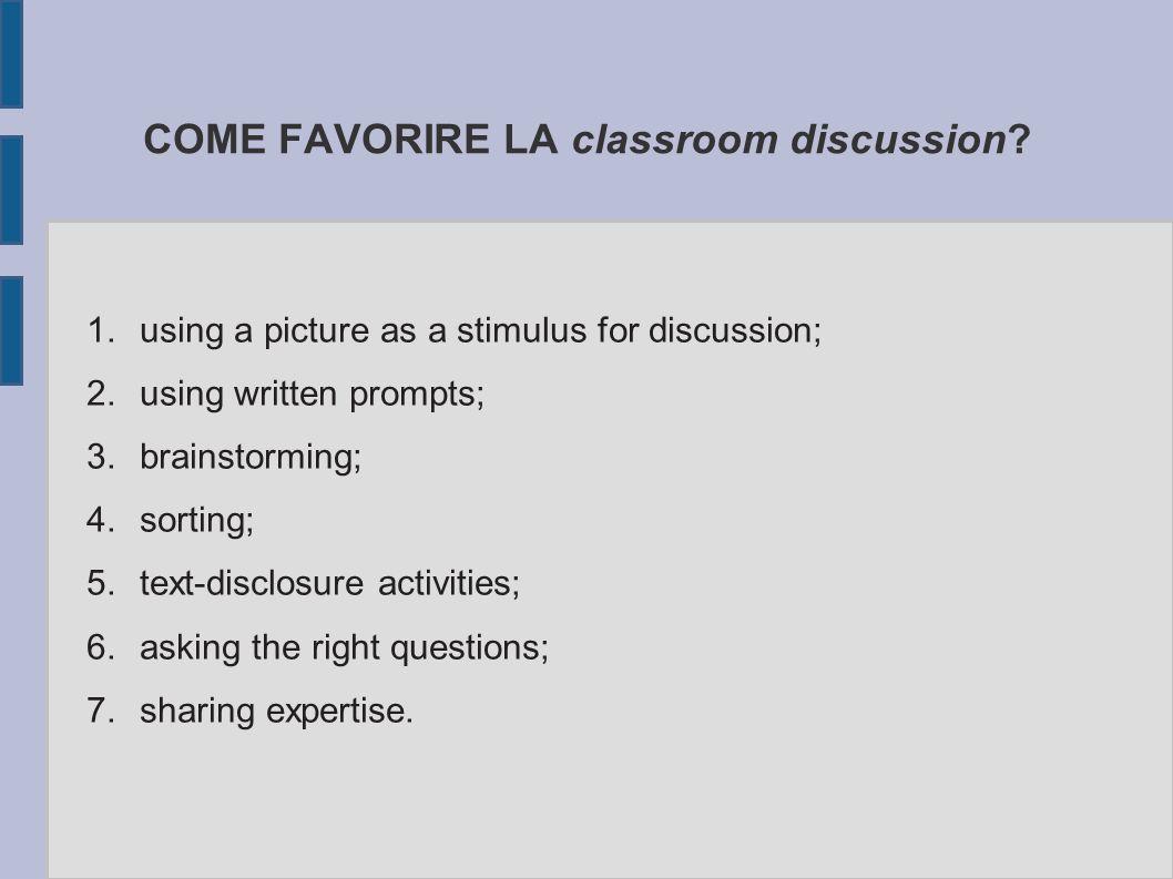 COME FAVORIRE LA classroom discussion