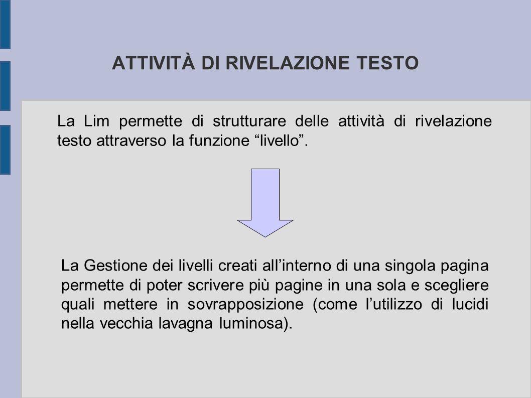 ATTIVITÀ DI RIVELAZIONE TESTO