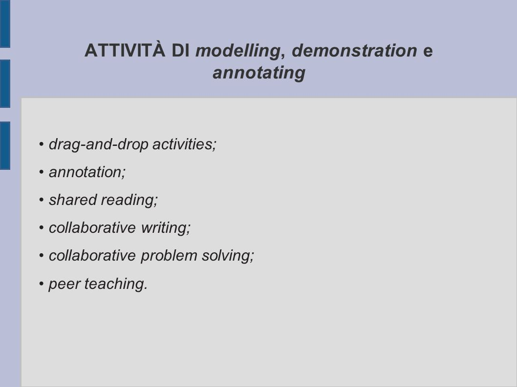 ATTIVITÀ DI modelling, demonstration e annotating