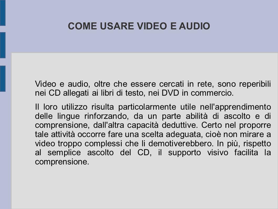 COME USARE VIDEO E AUDIO