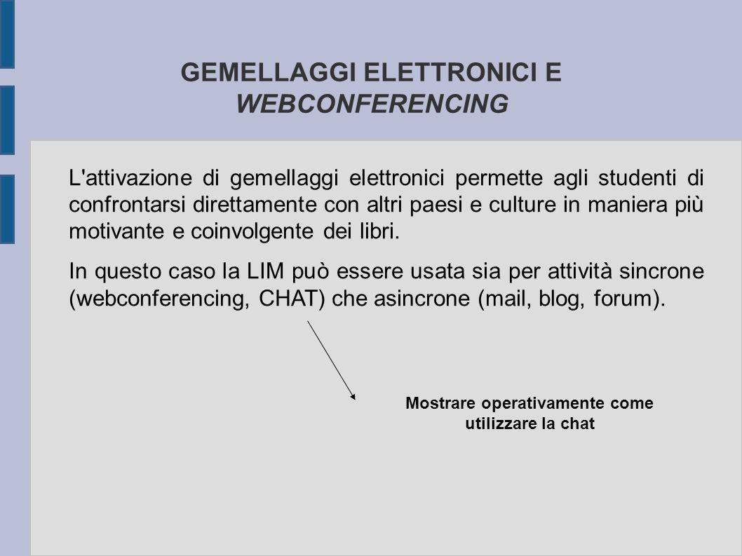 GEMELLAGGI ELETTRONICI E WEBCONFERENCING