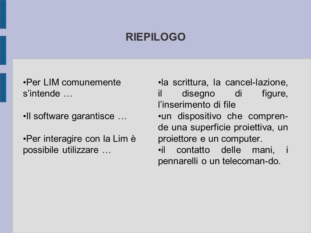 RIEPILOGO Per LIM comunemente s'intende … Il software garantisce …
