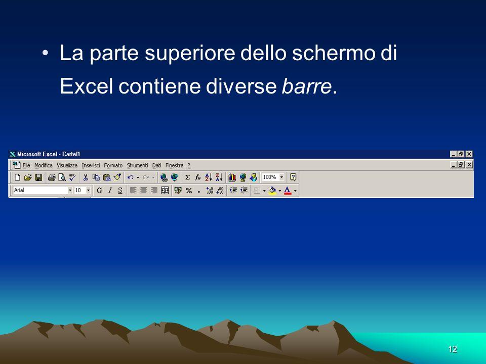 La parte superiore dello schermo di Excel contiene diverse barre.