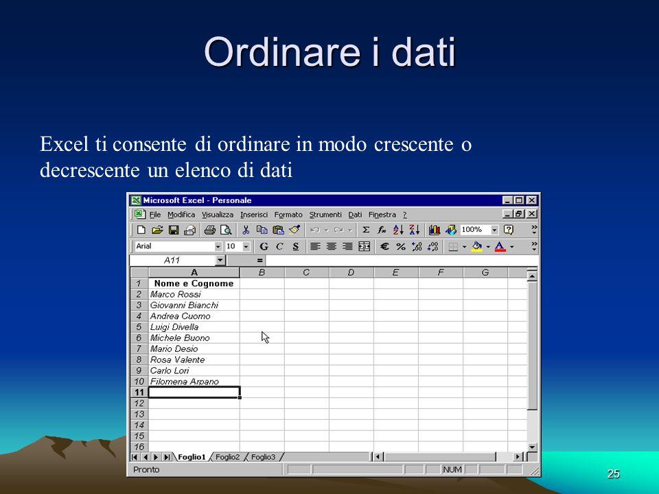 Ordinare i dati Excel ti consente di ordinare in modo crescente o decrescente un elenco di dati