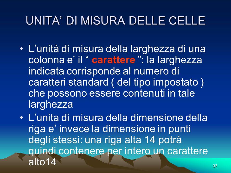 UNITA' DI MISURA DELLE CELLE