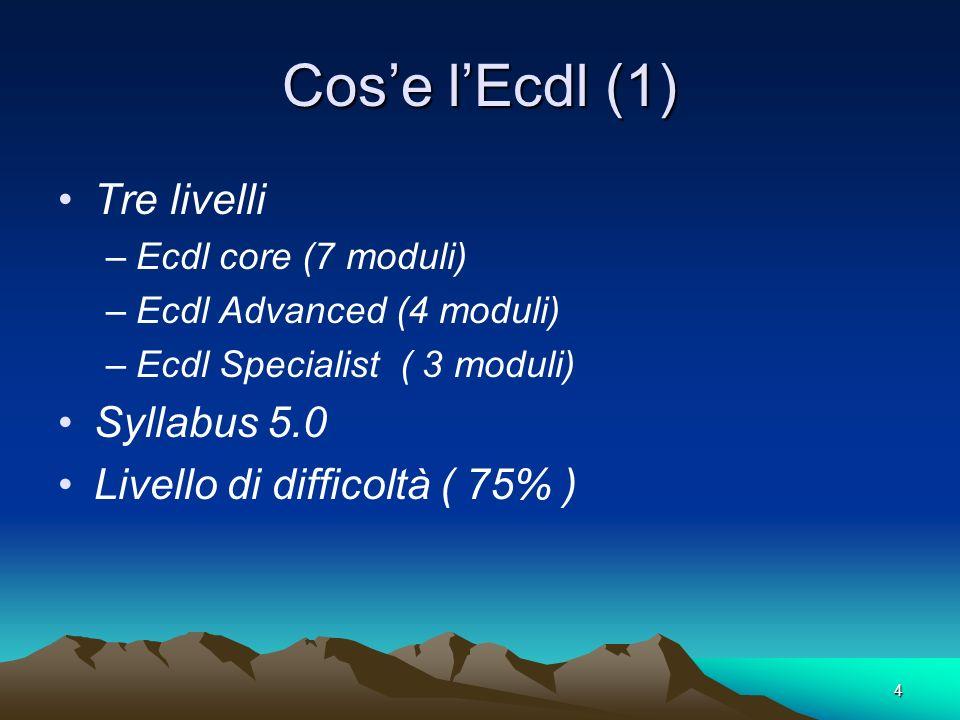 Cos'e l'Ecdl (1) Tre livelli Syllabus 5.0