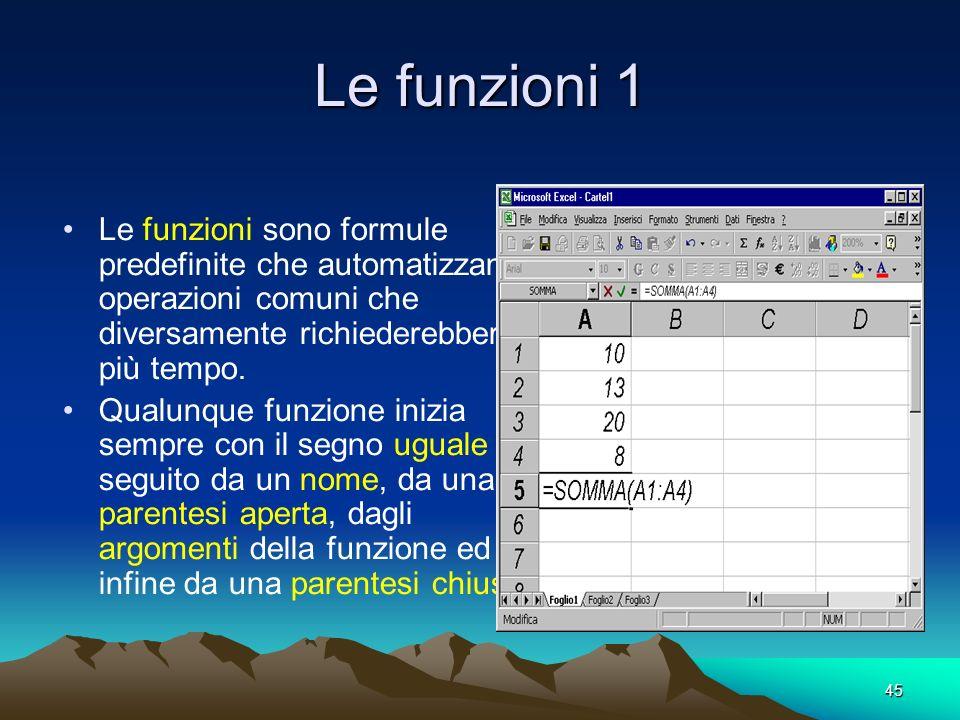 Le funzioni 1 Le funzioni sono formule predefinite che automatizzano operazioni comuni che diversamente richiederebbero più tempo.