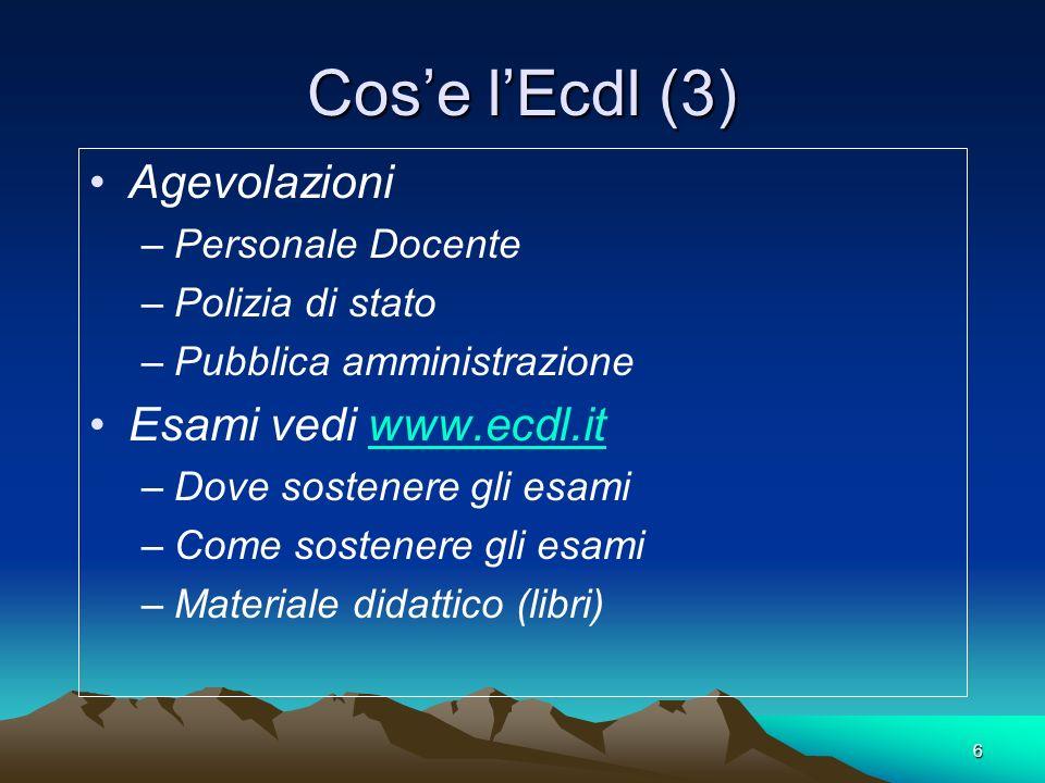 Cos'e l'Ecdl (3) Agevolazioni Esami vedi www.ecdl.it Personale Docente