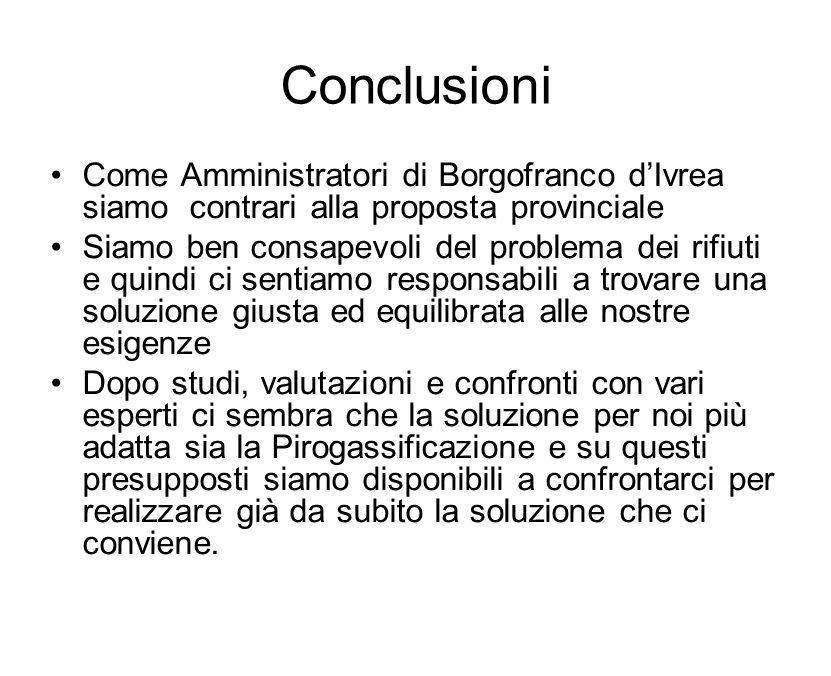 Conclusioni Come Amministratori di Borgofranco d'Ivrea siamo contrari alla proposta provinciale.