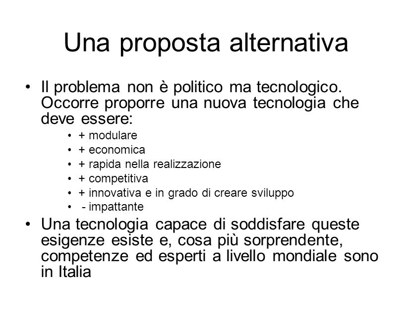 Una proposta alternativa