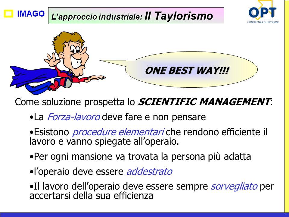 Come soluzione prospetta lo SCIENTIFIC MANAGEMENT:
