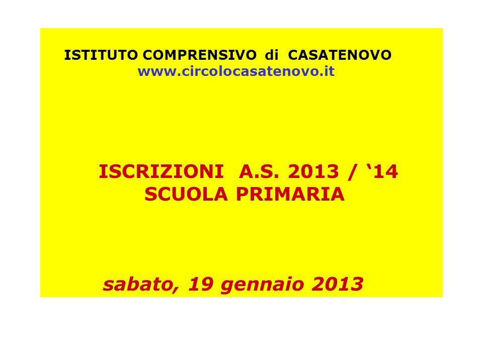 ISCRIZIONI A.S. 2013 / '14 SCUOLA PRIMARIA