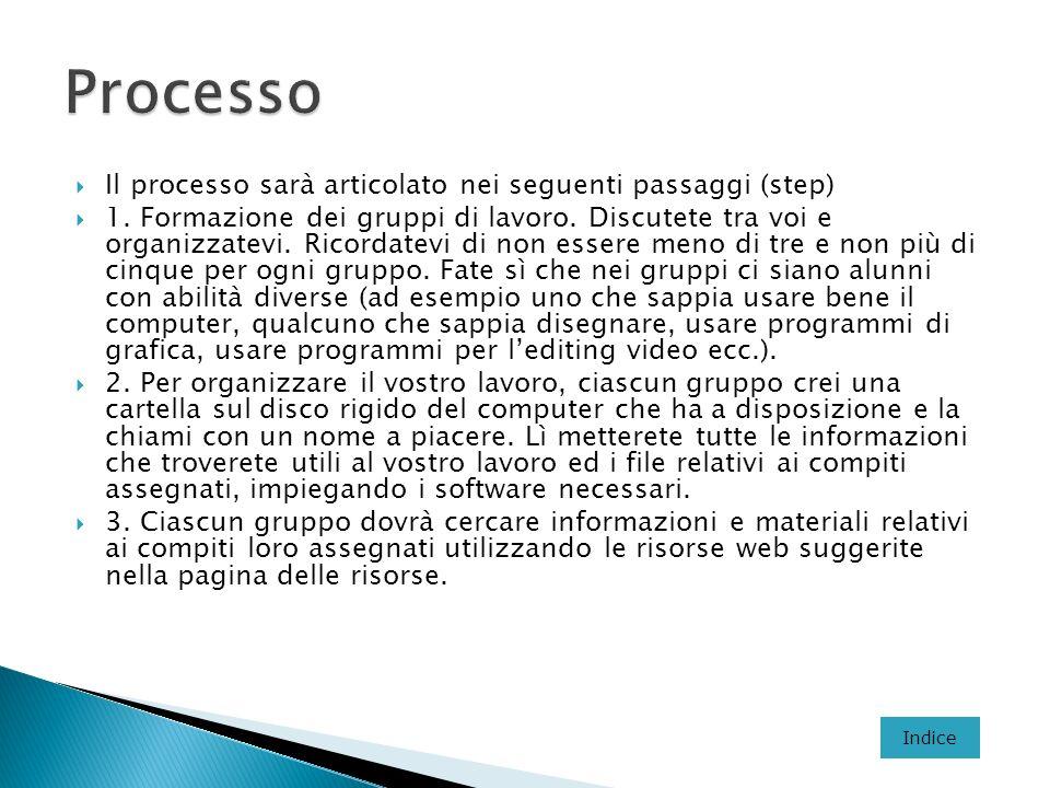 Processo Il processo sarà articolato nei seguenti passaggi (step)