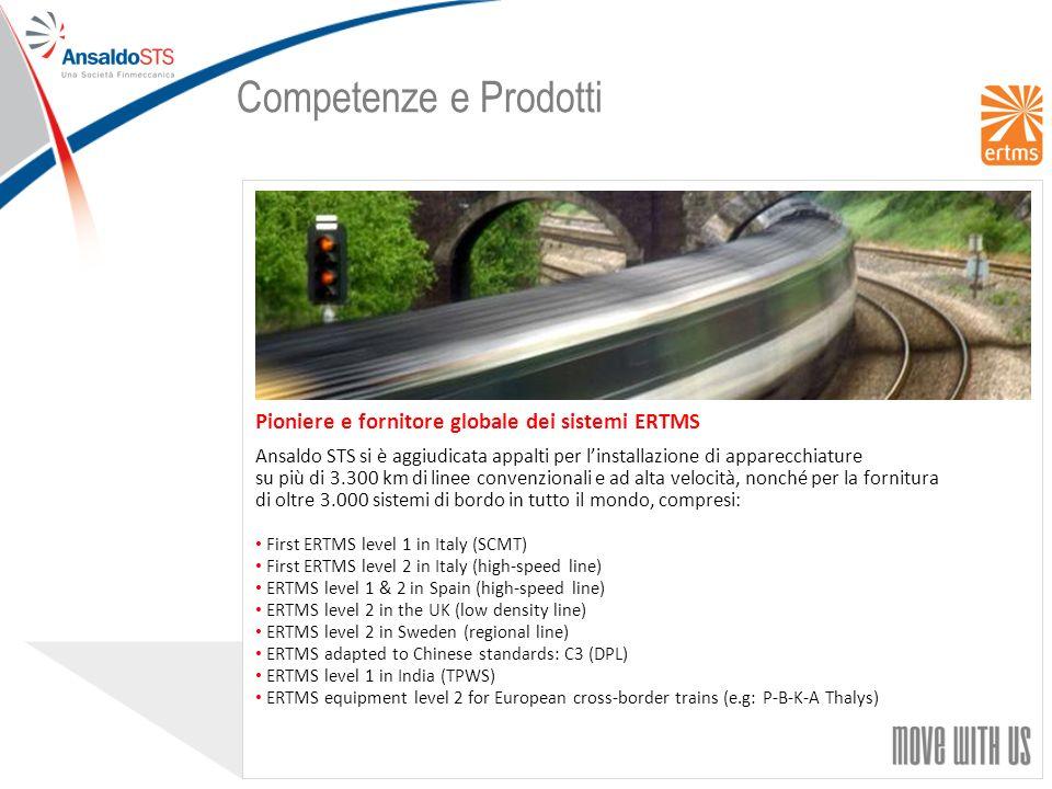 Competenze e Prodotti Pioniere e fornitore globale dei sistemi ERTMS