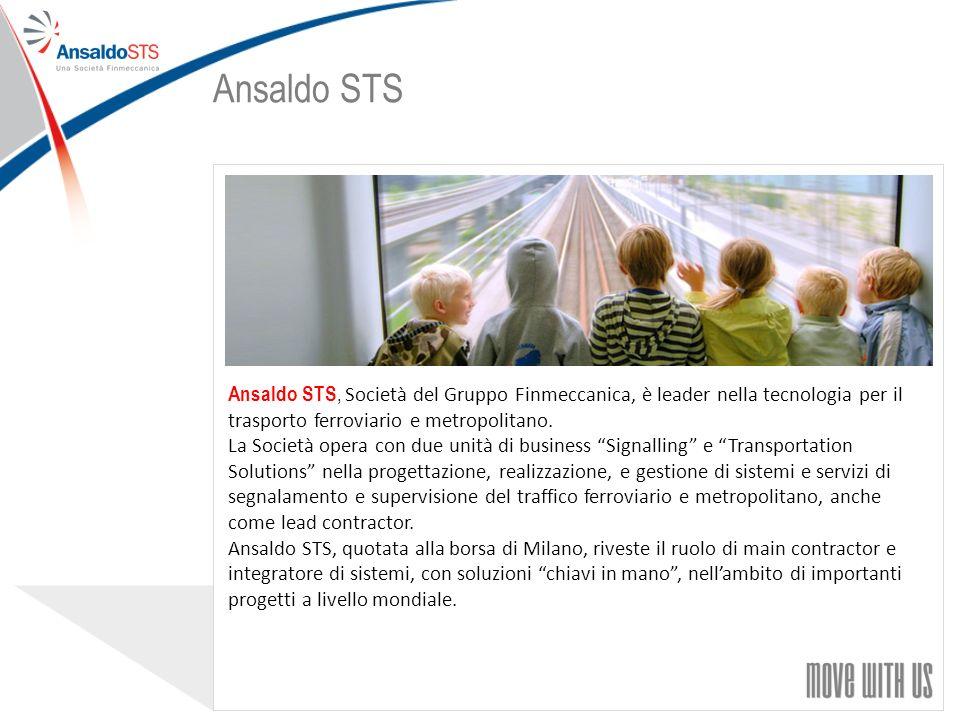 Ansaldo STS Ansaldo STS, Società del Gruppo Finmeccanica, è leader nella tecnologia per il trasporto ferroviario e metropolitano.