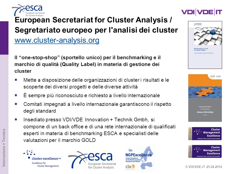 European Secretariat for Cluster Analysis / Segretariato europeo per l analisi dei cluster www.cluster-analysis.org