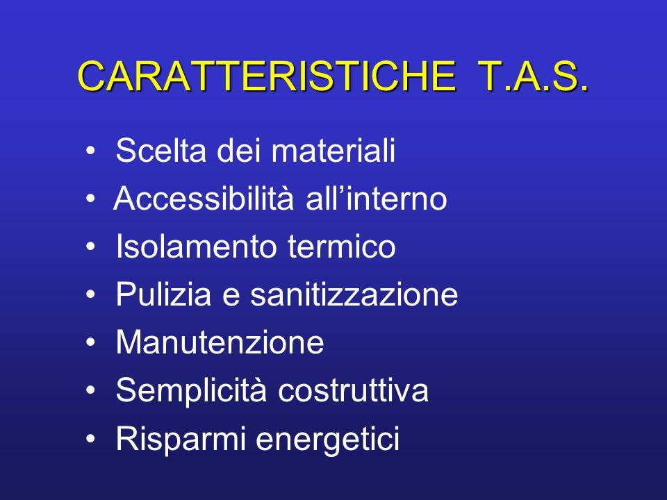 CARATTERISTICHE T.A.S. Scelta dei materiali Accessibilità all'interno