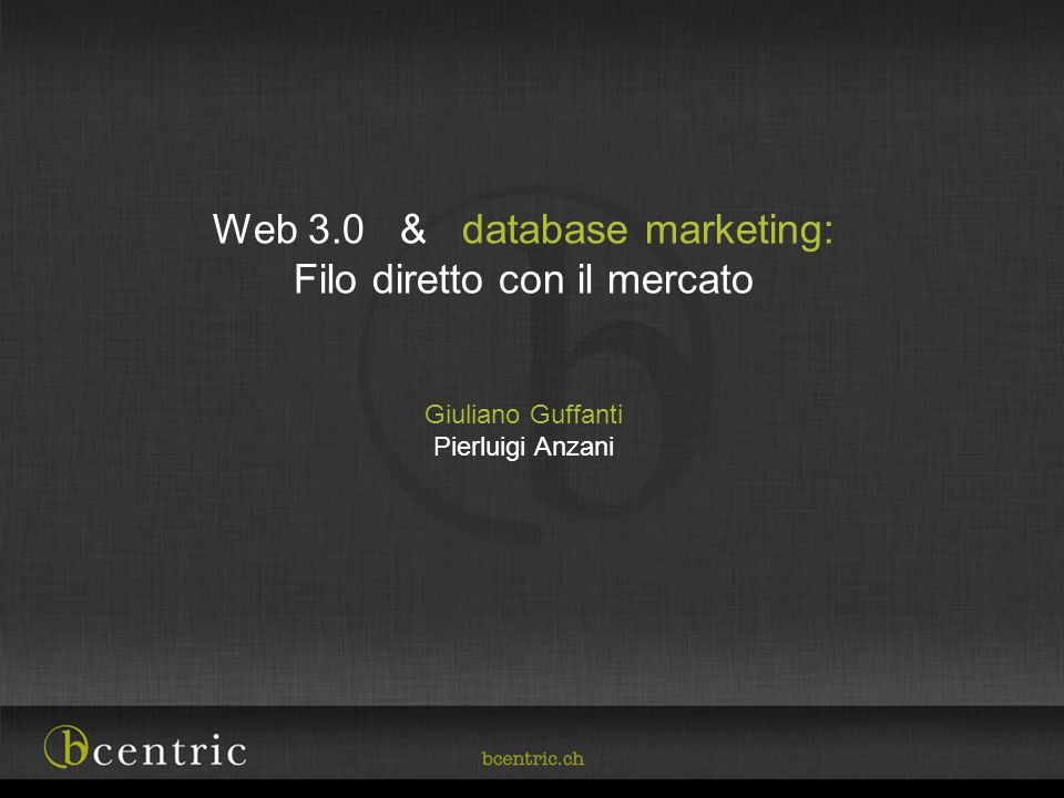 Web 3.0 & database marketing: Filo diretto con il mercato