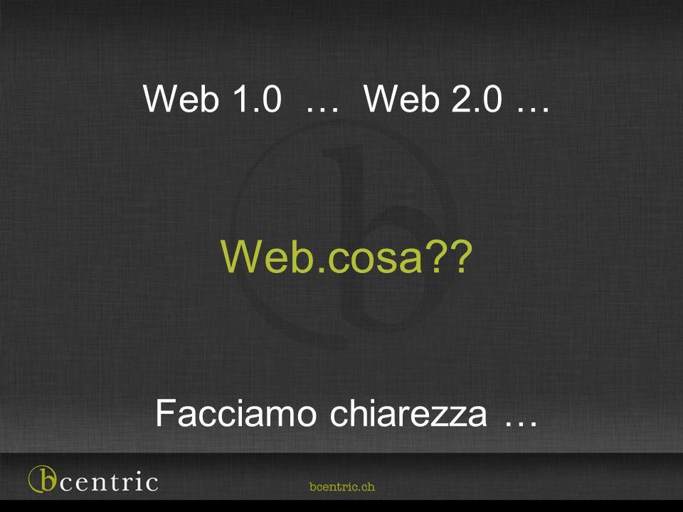Web 1.0 … Web 2.0 … Web.cosa Facciamo chiarezza …
